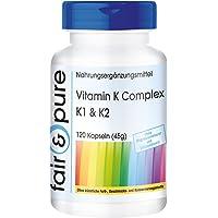Complexe de Vitamines K - K1 & K2-120 gélules véganes - Flacon avantageux pour 4 mois avec 120 gélules