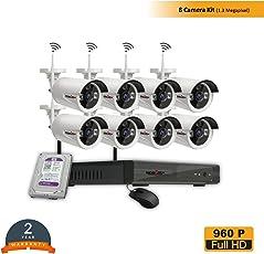ROBORIX 8 Camera Wireless WiFi IP 8 Channel NVR 1.3MP 960p HD CCTV Security Camera kit (1TB Hard Drive Included)