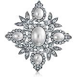 Bling Jewelry Nuziale Bianco Cristallo Moda Perla Simulata Grande Fiore Foglia Spilla Pin per Donne per La Madre Placcato in