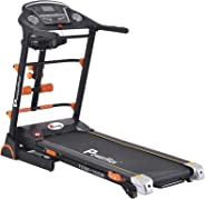 Powermax Fitness TDM-105M 2 HP/4 HP Peak Motorized Treadmill with Semi Auto Lubrication, Massager, Dumbbells, Sit up and Twis