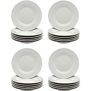160617 Set Of 6 White Porcelite Winged plates 6 1//2 Inch