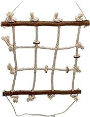 Vogelgaleria Spielzeug für Wellensittich und Nymphensittich I Vogel Kletter Spielplatz aus Naturholz und Sisal Seil I Vogelspielplatz Hängebrücke Vogelkäfig Zubehör 40 x 40 cm