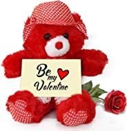 TIED RIBBONS Valentines Day Gift for Wife - Gift Combo Teddy Bear with Valentine's Special Greeting Card and Red Rose