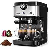 Cafetera Espresso Sboly, Cafetera 2 en 1 para Nespresso Compatible con Café Molido y en Cápsulas, Máquina de Espresso de 19 B
