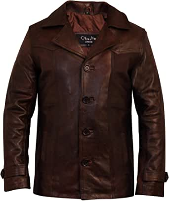 Charlie LONDON Men's Heist Antique Vintage Brown Leather Jacket