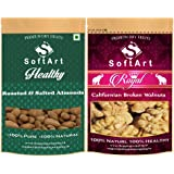 SoftArt Dry Fruit Combo of Roasted Almonds & Broken Walnuts (500g Each)