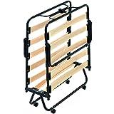 Evergreenweb - Lit Pliable d'appoint Simple 80x190 cm sommier à Lattes Confortable en Bois et Roulette, orthopédique, pour in