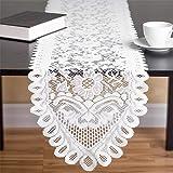 33 x 305 cm Chemin de Table en Dentelle au Crochet Fait à la Main, Napperons Rectangulaires et Rectangulaires Beiges pour Déc