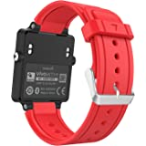 MoKo Garmin Vivoactive Smartwatch Bracelet, Replacement WatchBand Wristband en Silicone souple avec fermoir métallique pour Garmin Vivoactive / Vivoactive Acetate Sports GPS Smart Watch, Rouge