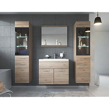 badezimmer badm bel toledo xl led 60 cm waschbecken hochglanz grau fronten unterschrank 2x. Black Bedroom Furniture Sets. Home Design Ideas