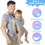 Lictin Baby Carrier 6-in-1 Ergonomic Backpack Carry with Hip Seat for Infants from 3.5KG to 20KG with 2 Cotton Bibs, 1...