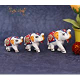 HHI Paper Mache Handmade Elephant Showpiece Figurine Set of 3 for Living Room Home Décor and Gift Purpose (White and Red…