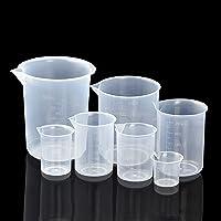 HENTEK 7 Pcs Bécher Gradué 25/50 / 100/150 / 250/500 /600ml Verres Doseurs en Plastique Transparent pour Cuisine et…