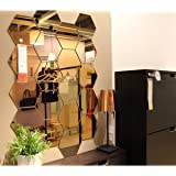 Wall1ders Atulya Arts 3D Acrylic Mirror Hexagon Shape Wall Stickers (Gold) - (Pack of 20)