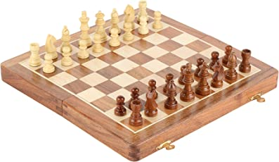 Pytho Handmade Wooden Chess Set with Magnatic Board and Hand Carved Chess Pieces | Size 10 X 10 Inches (Open), 10 X 5 Inches (Folded)