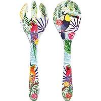 Les Jardins de la Comtesse – Couverts à salade en Mélamine Pure – Toucans de Rio – 33 cm – Multicolore - Service de…