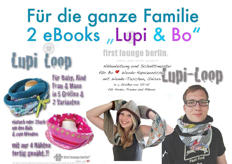 Family Lupi & Bo Kragen-Loop und Wende-Kapuzenschal mit Taschen. 2 eBooks mit Nähanleitung und Schnittmuster. [Download]