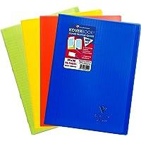 Clairefontaine 981440AMZC Lot de 4 Cahiers Agrafés Koverbook - 24x32 cm 96 Pages Grands Carreaux Papier Clairefontaine…