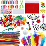 Caydo Assorted Art and Craft for Kids Include Chenille Stems, Pom Poms, Wiggle Eyes, Feather and Felt, Foam Balls for…