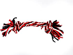 SRI Two Knot Cotton Rope Toy, 13 Inches, Black/Red