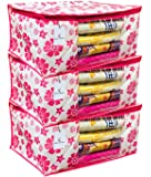 Kuber Industriestm Non Woven Saree Cover Pink Floral Design Set Of 3 Pcs (Capacity Upto 15 Sarees) -Ss17
