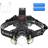 Linkind Lampe frontale à LED rechargeable, lumineuse 1000 lux avec lumière rouge et 4 modes d'éclairage, angle d'irradiation