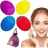 Spazzola Pulizia Viso 4x Esfoliante Pelle Sensibile Omaggio Sacchetto Scrub Massaggiatore Detergente Morbido Silicone…