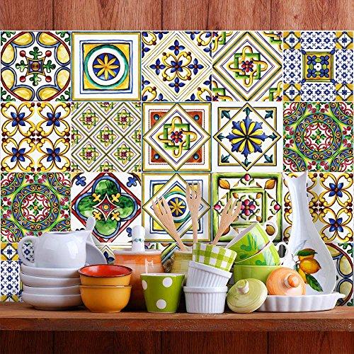 PS00017 Pared pegatinas de PVC para los azulejos para baño y cocina Stickers design - Retro fantasía - 25 azulejos 20x20 cm