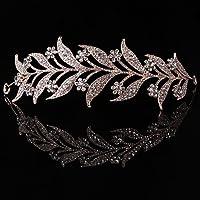 SimpleLife Tiara Fascia Fascia, Copricapo Medievale-Foglia Perla Simulata Fascia Capelli Tiara Corona Sposa Tiara Sposa…