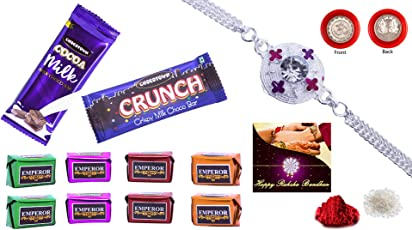 DeoDap Silver Plated Rakhi with Roli Chwal and Pooja Coin with Chocolate Combo