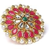 Zaveri Pearls Pink & Green Stones & Pearls Flower Traditional Finger Ring For Women-ZPFK9544