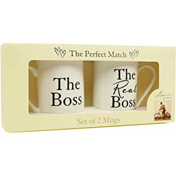THE BOSS & THE REAL BOSS BONE CHINA MUGS WEDDING OR ANNIVERSARY GIFT