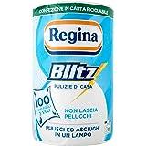 Regina Blitz Carta Casa | Confezione da 1 rotolo | 100 maxi fogli 3 veli | Confezione in carta riciclabile | Pulisci e asciug