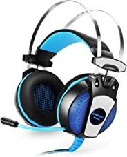 Kotion Each GS500 Over Ear Gaming Headphones for PC (Black and Blue)