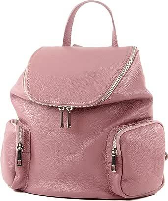 modamoda de - T175 - ital Damen Rucksack Tasche aus Leder
