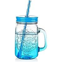 Bocaux en verre avec couvercles, bocaux ZDZDZ avec paille, bocaux de stockage réutilisables, tasses en verre avec…