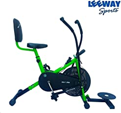 Leeway Air Bike Exercise Cycle| Moving Handle Gym Bike| Deluxe Design of Crossfit Fitness| Lifeline for Cardio Work Out| Stamina BGA 2001 Bike| Dual Action Airbike with Back Rest and Twister- Green
