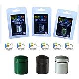 geo-versand zilver - groen - zwart magnetische nano met 3 logostrepen geocaching verstopplaats, container, doos, schuilplaats