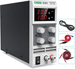 UNIROI DC Power Supply Available, 0-30V/0-10A Adjustable Switching Regulated Power Supply with 3-Digit LED Display, Alligator Clip Leads (Banana plug and Spade Lugs), Input Power Cord UC3010 (UC3010)