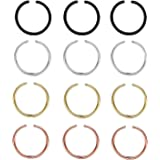 A-One Collection Golden, Black, Antique Silver Plated Nose Ring for Women, Set of 12 Pcs
