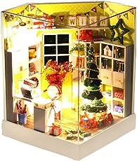 DIY kleines Haus Frohe Weihnachten Modell Miniatur Puppenhaus Handmade Innovatives Mädchen Geschenk Leuchtendes Spielzeug