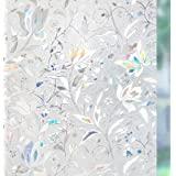 rabbitgoo Pellicola Privacy per Finestre e Vetri 3D Fiori Autoadesive Controllo di Calore con Effetto Arcobaleno Anti-UV per