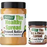Zucchero 100% Natural Peanut Butter, Unsweetend, Crunchy, 1kg (Combo Pack: 200gms Dark Chocolate PB Free)