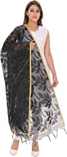 Devam Women's Cotton Silk Blend Banarsi Jacquard Dupatta(LH-395_Black_Free Size)