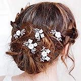 Edary Braut Hochzeit Haarnadeln Blume Braut Haarteile Silber Hochzeit Haarschmuck Perle Braut Haarspangen für Frauen und Mädc