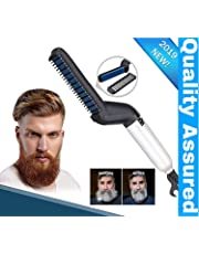 Clomana® Premium Beard Straightener Hair Styler Upgraded Electric Modelling Comb Men's Hair Quick Straightening Comb Anti Static Efficient & Portable