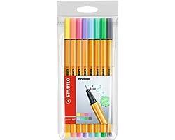 Fineliner - STABILO point 88 Pastel - Astuccio da 8 - Colori pastello assortiti