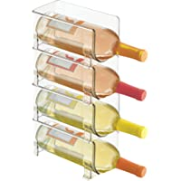 mDesign range-bouteilles en plastique – support pour bouteilles empilable et modulable pour stockage de 4 bouteilles de vin et d'eau – aménagement pratique de la cuisine – couleur : transparent