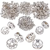 JNCH (Dia. 6mm + 8mm) 400pz Perline Vetro Strass Rotonde Perle Distanziatori Argento Metallo Accessori per Creazione Gioielli