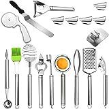 KEPEAK Nouveaux Gadgets de Cuisine Set, 18pcs Outils de Cuisine Inoxydable, Spatule à Gâteau/Râpe/Dissolvant d'Ecailles de Po